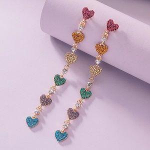 🌈 Rainbow Rhinestone Hearts Dangle Earrings New